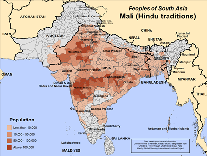 Map of Mali (Hindu traditions) in India
