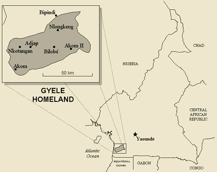 Map of Bagyele in Cameroon