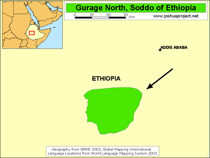 Map of Gurage, Kistane in Ethiopia