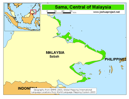 Map of Sama-Bajau in Philippines