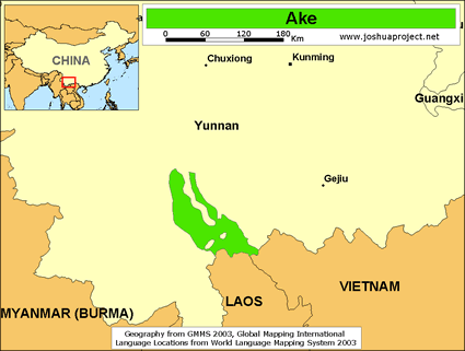 Map of Akeu in China