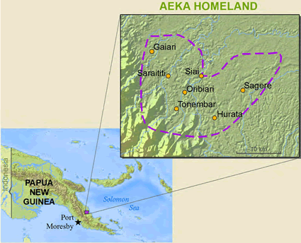 Map of Aeka in Papua New Guinea
