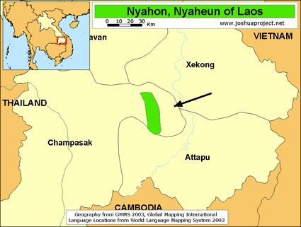 Map of Nyahon in Laos