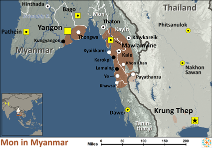Map of Mon in Myanmar (Burma)