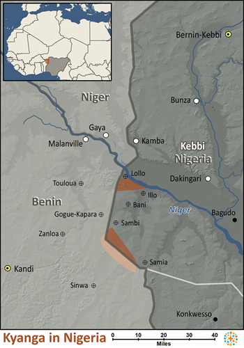 Map of Kyanga in Nigeria