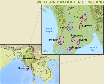 Map of Karen, Pwo Western in Myanmar (Burma)
