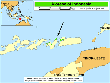 Map of Alorese in Indonesia