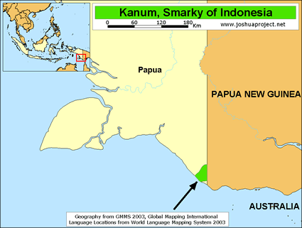 Map of Kanum, Smarky in Indonesia