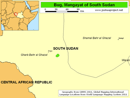 Map of Bug, Mangayat in South Sudan