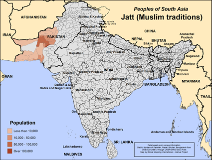 Map of Jatt (Muslim traditions) in Pakistan