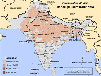 Map of Madari (Muslim traditions) in Bangladesh