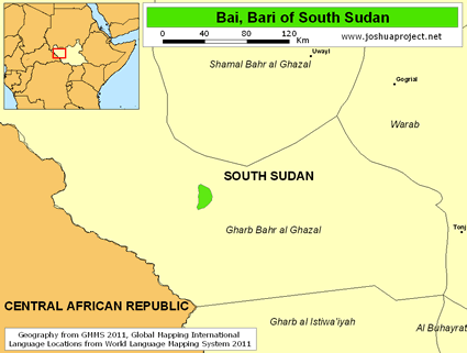 Map of Bai, Bari in South Sudan