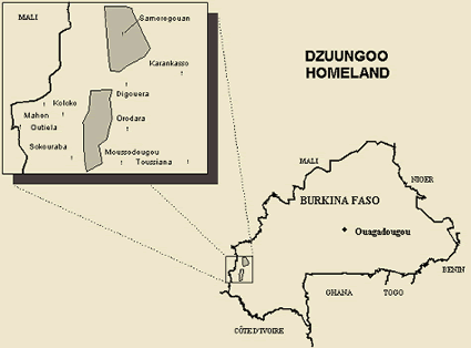Map of Dzuun, Samogo in Burkina Faso