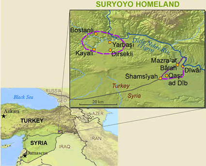 Map of Syrian Aramaic, Turoyo in Turkey