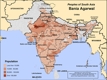 Map of Bania Agarwal in India