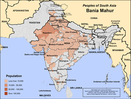 Map of Bania Mahur in Nepal