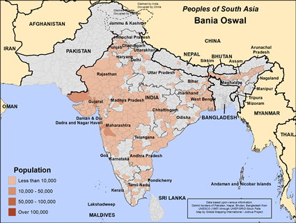Map of Bania Oswal in India