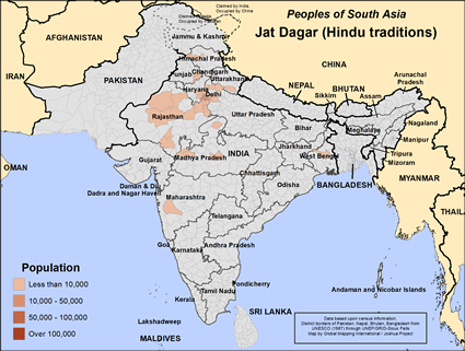Map of Jat Dagar (Hindu traditions) in India