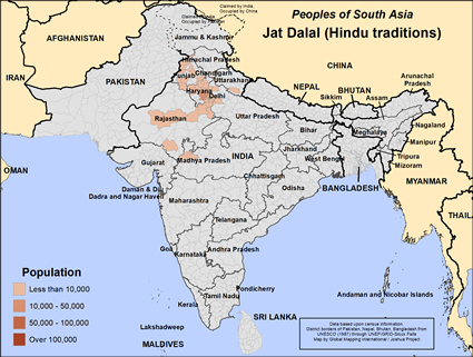 Map of Jat Dalal (Hindu traditions) in India
