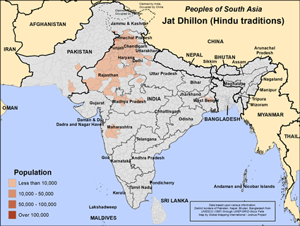 Map of Jat Dhillon (Hindu traditions) in India
