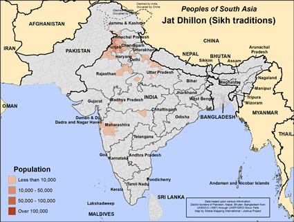Map of Jat Dhillon (Sikh traditions) in India