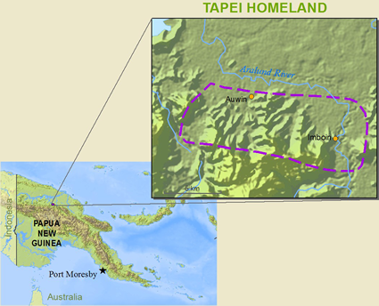 Map of Tapei in Papua New Guinea