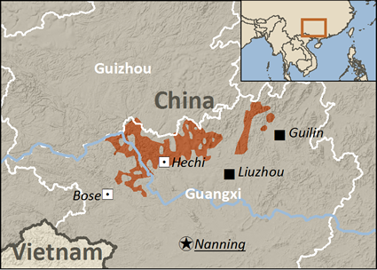 Map of Zhuang, Guibei in China