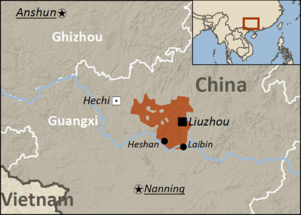 Map of Zhuang, Liujiang in China
