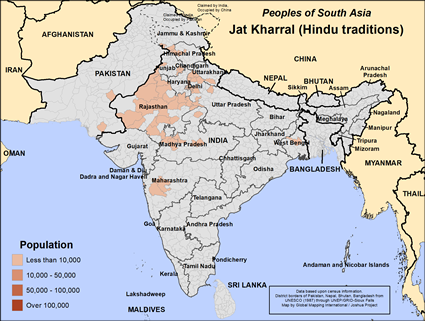 Map of Jat Kharral (Hindu traditions) in India