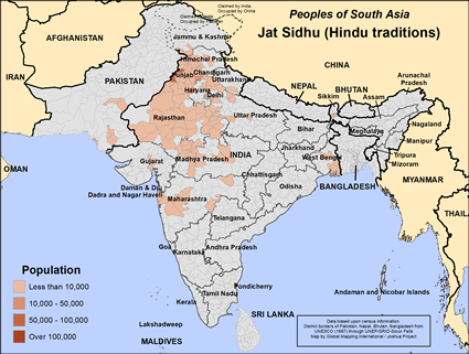Map of Jat Sidhu (Hindu traditions) in India