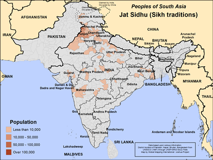 Map of Jat Sidhu (Sikh traditions) in India