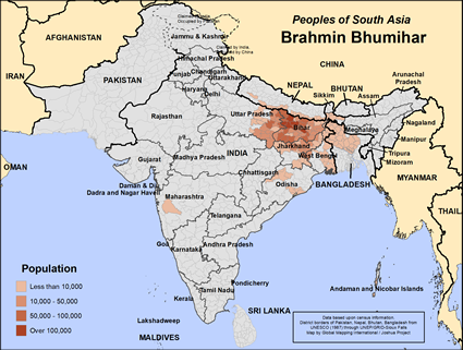 Map of Brahmin Bhumihar in Nepal