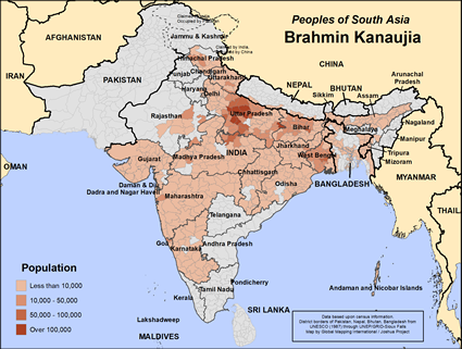 Map of Brahmin Kanaujia in Nepal