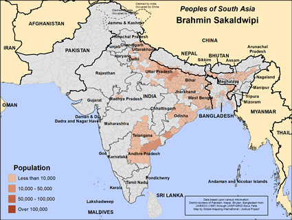 Map of Brahmin Sakaldwipi in Nepal