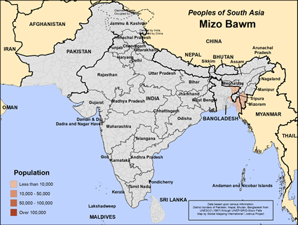 Map of Mizo Bawm in India