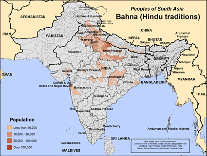 Map of Bahna (Hindu traditions) in India