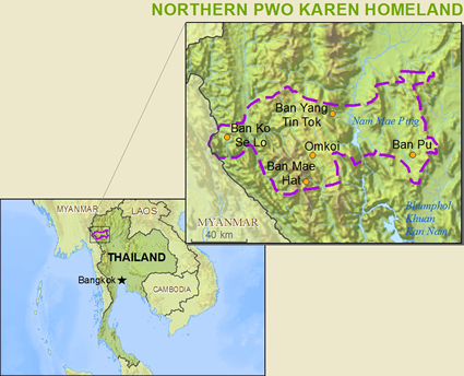 Map of Karen, Pwo Northern in Thailand