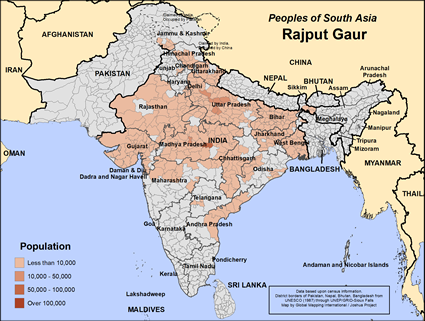 Map of Rajput Gaur in India