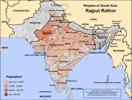 Map of Rajput Rathor (Hindu traditions) in India