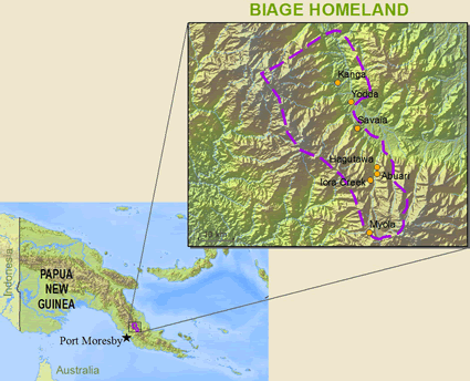 Map of Biage in Papua New Guinea