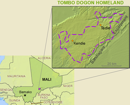 Map of Dogon, Tombo in Mali