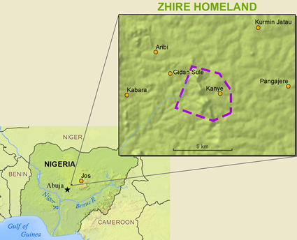 Map of Zhire in Nigeria