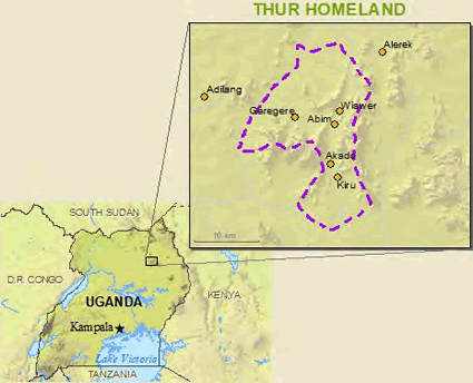 Map of Thur in Uganda