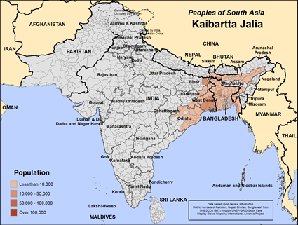 Map of Kaibartta Jalia in Bangladesh