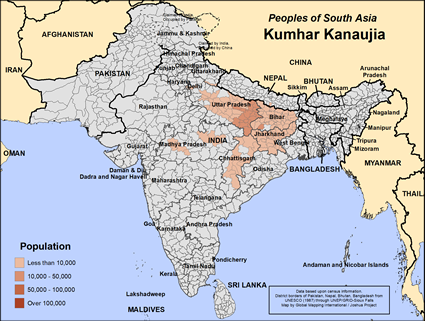 Map of Kumhar Kanaujia in India