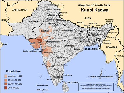 Map of Kunbi Kadwa in India