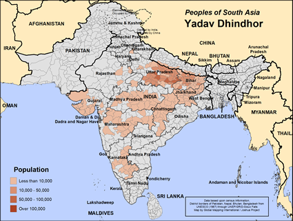 Map of Yadav Dhindhor in India
