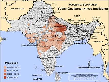 Map of Yadav Gualbans (Hindu traditions) in India