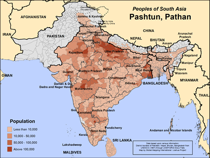Map of Pashtun, Pathan in India